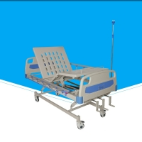 China 500 - 780mm Portable Hospital Bed, Foldable Manual Adjustable BedWith IV Stand on sale