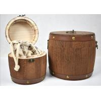 China Brown Color Hand Made Wooden Storage Barrels Pine Wood Tea Boxes With Lid for sale