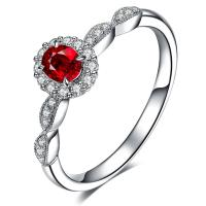 China Beautiful Ruby Diamond Ring White Gold Pave Diamonds Natural Gems Precious Metal on sale