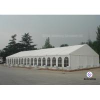 China 600 ~ 1000 Person Aluminum Frame Tent , White PVC Event Tent With Double Wing Glass Door for sale