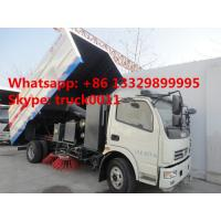 China Dongfeng 4*2 LHD road sweeper truck (2cbm water tank+5cbm wastes van) for sale, best price Dongfeng sweeping vehicle for sale