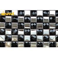 Wholesale White And Black Stainless Steel Mixed Mosaic Beveled Glass Subway Tile from china suppliers