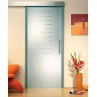 Wholesale Custom Satin Etched Glass Door With Groove , Tempered Glass For Shower Room from china suppliers