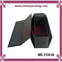 Quality Single champagne bottle gift box, black fold up wine cardboard packaging box ME-FD036 for sale