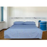 Buy cheap Blue 40S Stripe And 100% Cotton 220TC Hospital Bed Sheet / Hotel Collection Bedding Sets from wholesalers
