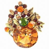 Wholesale Delicate Metal Brooch with Shining Stones from china suppliers
