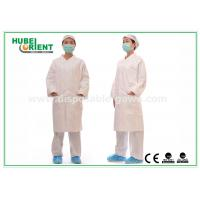 Wholesale White tyvek disposable lab coats / protective disposable chemical suits Breathable from china suppliers