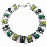 Wholesale Fashionable Necklace with Resin Stone, Nickel- and Lead-free from china suppliers