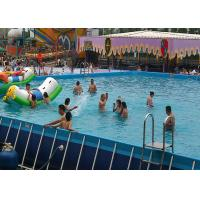 Quality Large Rectangular Metal Frame Pool , Mobile Water Slide Swimming Pool With Pool Float for sale