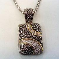 Wholesale (N-89) Women's Fashion Silver Plated Jewelry Cubic Zircon Tag Pendant Necklace from china suppliers