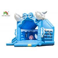 China Customize Business 1.6ft Blue Dolphin Inflatable Jumping Castle For Kids Double - Triple Stitch on sale