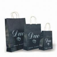 Wholesale Promotional Shopping Bags with Twist or Flat Handle, Made of White or Brown kraft Paper from china suppliers