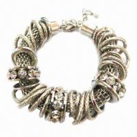 Wholesale Metal Bracelet with Rings, Made of Zinc Alloy and Rhinestones from china suppliers