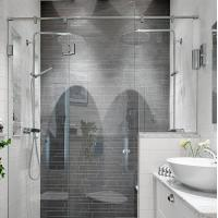 Buy cheap Modern tempered glass white line glass Shower Room compact shower enclosure from wholesalers