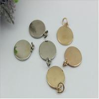 Handbag hardware metal round shape flat logo label tag plate with light gold for sale