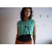China Green Hand Crochet Sleeveless Cardigan Sweater Front Open Cotton Knit Cardigan on sale