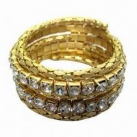 Wholesale Bracelet with Crystal Glass Stone and Worn Gold Plating from china suppliers