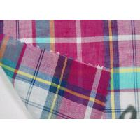 Thin Tulle Cotton Yarn Dyed  Fabric Excellent Color Fastness With Grid Pattern