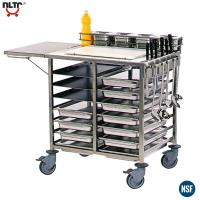 China Stainless Steel Serving Trolley with Worktop, Cutting Board, Tray Slides, Knives Storage, Containers Stand on sale