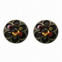 Wholesale Fashionable Drop Earrings, Flower Embossment with Colorful Rhinestone Decorated, Made of Iron from china suppliers