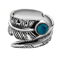 Wholesale Turquoise Adjustable Tribal Feather Ring 925 Sterling Silver Band Ring (024952) from china suppliers