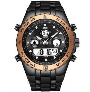 China Fashion Men Steel Band Dual Display Digital Analog Multifunction Alarm Big Dial Stopwatch Watch on sale