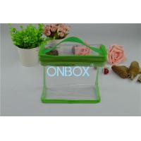 Wholesale Fashion Carrying Transparent PVC Zipper Bags With Green Borders / Handle from china suppliers