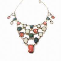 Wholesale Fashionable Necklace, Metal Chain-linked Design, Decorated with Multicolor Resin from china suppliers