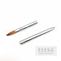 Wholesale Shiny Silver Metallic Handle No 10 Pure Kolinsky Acrylic Nail Brush Crimped from china suppliers