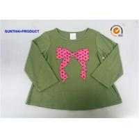 Wholesale Knot Bow Applique Top Long Sleeve Crew Neck Baby Girl T Shirt from china suppliers