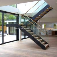 Wholesale Modern L-shape Wood Staircase Design / Internal Used Glass Railing Wood Stairs from china suppliers
