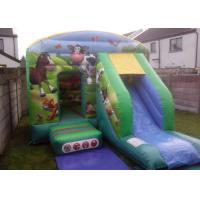 Wholesale 12ftx18ft Farmyard Inflatable Combo , Kids Green Jumping Bounce House With Slide from china suppliers
