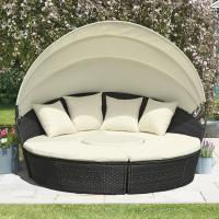 Wholesale KD Round Wicker Outdoor Rattan Daybed In All Weather With 4pcs Pillow from china suppliers