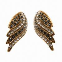 Wholesale Rhinestone Stud Earrings in Half-wing Design with Golden Plating from china suppliers