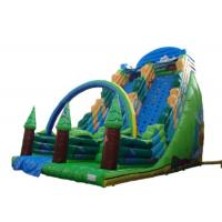 Wholesale Green Forest Theme Blow Up Slide , Giant Inflatable Slide With Climbing Wall from china suppliers