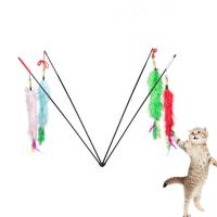 Buy cheap Fashion Interactive Cat Toys Soft Plush Feathers Stick Long Tail Educational Cat from wholesalers
