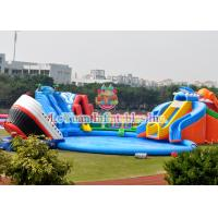 Blue Inflatable Water Playground / Kids Water Park Plato PVC Tarpaulin Certificate