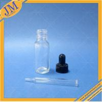 China 1/2 oz clear Boston round glass bottle with black dropper cap on sale