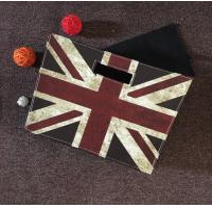China Europe Style Home Goods UK Flag Design Foldable PU leather Decoration Basket Rustic floral fancy box basket on sale