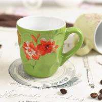 Buy cheap Promotional Ceramic Coffee Mugs Microwave Safe Embossed Customized Flower from wholesalers