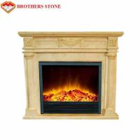 Wholesale High Durability Natural Stone Fireplaces , Beige White Marble Fire Surround from china suppliers