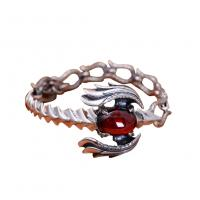 Wholesale Handmade Sterling Silver Chain Link Phoenixes Synthetic Garnet Charm Women Bracelet (014902) from china suppliers