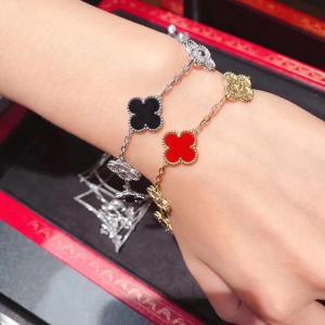Wholesale Custom 18K White Gold Diamond Van Cleef Vintage Alhambra Bracelet 5 Motifs brand jewelry china from china suppliers