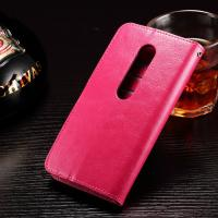 Quality Crazy Horse Moto G3 Motorola Leather Case Anti -  Dirt Handmade Three Cards Slot for sale