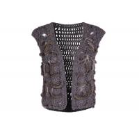 Wholesale Crochet Knitting Grey Womens Sweater Vest , Sleeveless Womens Fur Vest Short Style from china suppliers