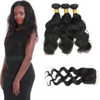 Wholesale 20 Inch Malaysian Curly Hair Bundles With Closure Natural Wave CE Certification from china suppliers