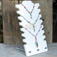 Wholesale White Acrylic Tiered Necklace Display Stands 3mm - 7mm Hold 8 Necklace from china suppliers