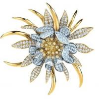 Wholesale Stylish Unique Gold / Silver Rhinestone Flower Brooch for Ladies Costume from china suppliers