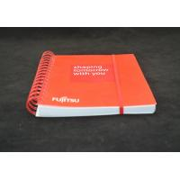 Red Recycled Custom Paper Notebooks , Spiral Bound Notebooks With Elastic Band
