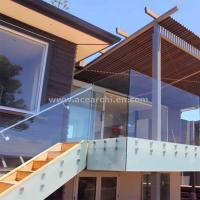 Wholesale Frosted Glass Privacy Screens / Frameless Glass Railing with Standoffs from china suppliers